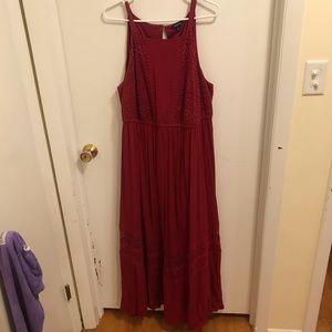Torrid 2 Cranberry Maxi Dress Crochet Sleeveless